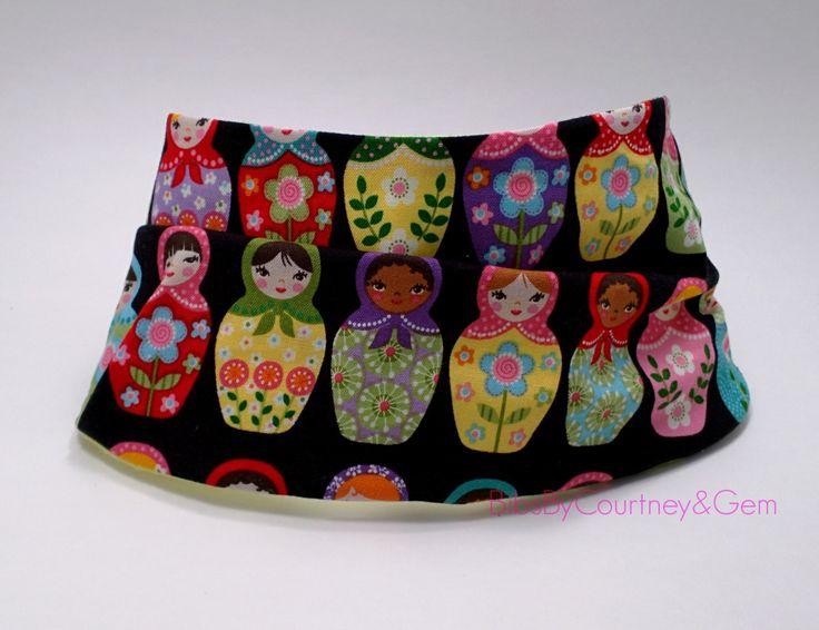 Baby Bib, Reversible Scarf Bib, Faux Infinity Scarf with Motroyshka Print & Flannel Velcro Closure for Infant or Toddler, Boy or Girl by BibsbyCourtneyandGem on Etsy