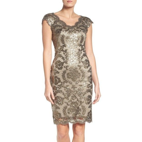 Women's Tadashi Shoji Sequin Sheath Dress ($149) ❤ liked on Polyvore featuring dresses, petite, smoke pearl, petite sheath dress, sequin dress, eyelash lace dress, petite cocktail dress and scalloped sequin dress