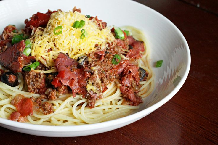 Cowboy Spaghetti MUST MAKE!!! Use the buddig packs of pastrami it works. Double recipe for family size. I add butter and garlic powder or salt to  my pasta and serve sauce on top. I dont add the hot spices but u mite like too. This stuff is FANTASTIC..u can also use deli ham or dried beef instead of pastrami but the pastrami is good!!!!!!