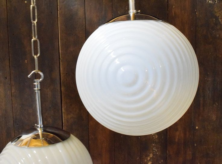 Vintage Opaline Glass Ball Lights With Ridged Pattern – Lollypop photo 3