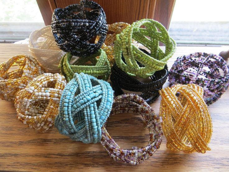 Adjustable Beaded Spring Cuff Bracelet Celtic Braid