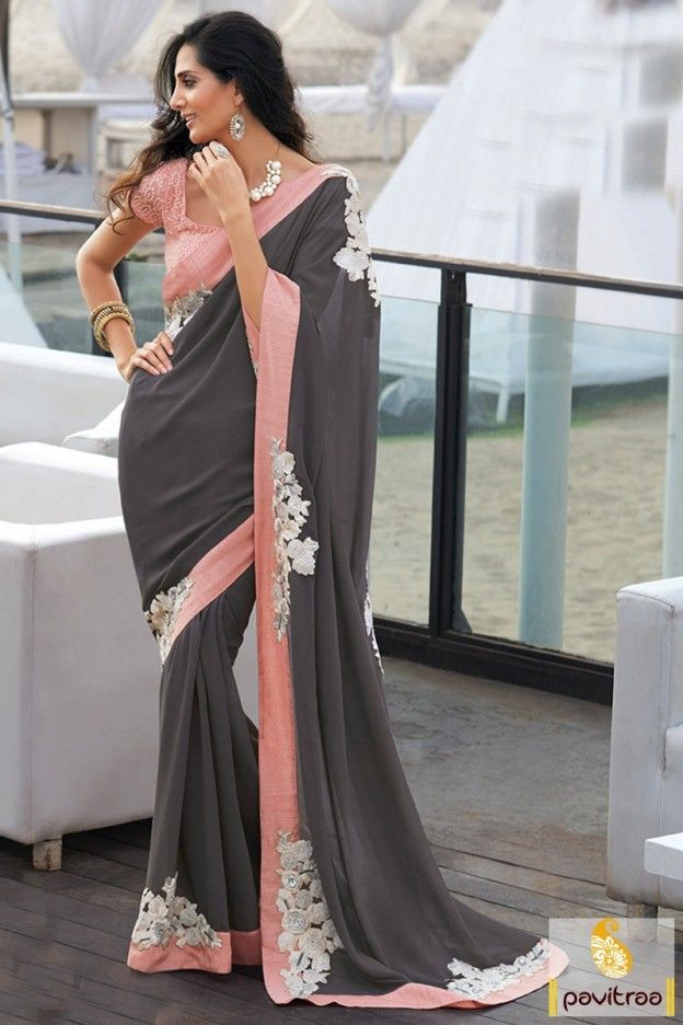 Light Pink and Grey Combination Party Saree with Price