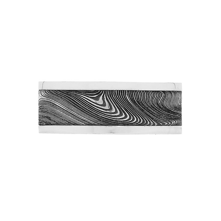 Damascus Steel Collection // Rohan Jewellery // A deep etch twist Damascus steel ring with white gold rails.