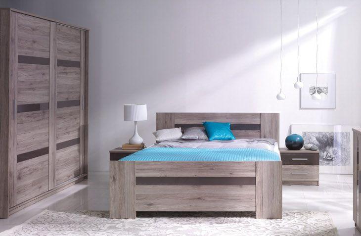Complete robuust eiken slaapkamer set Orlando gecombineerd met Hoogglans bruin