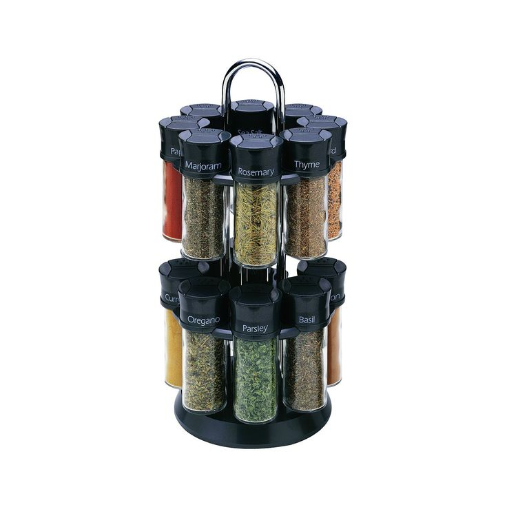 The Olde Thompson Spice Rack lets you keep your spices neatly organized and easily accessible. The 3-oz. jars come filled with commonly used spices. This 16-jar rack has a lazy Susan base that lets you easily select the spices you want for cooking. The glass jars have flip-top lids that make it easy to sprinkle the proper amount of spice. The names of the spices are clearly written on the jar caps for effortless identification. The rotating spice rack can be moved from one location to…
