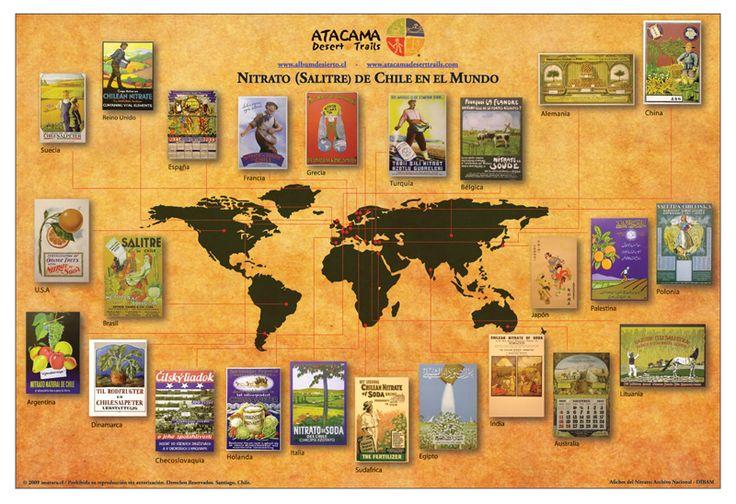 Afiche Nitrato (Salitre) de Chile en el Mundo con planisferio Negro $ 7.500