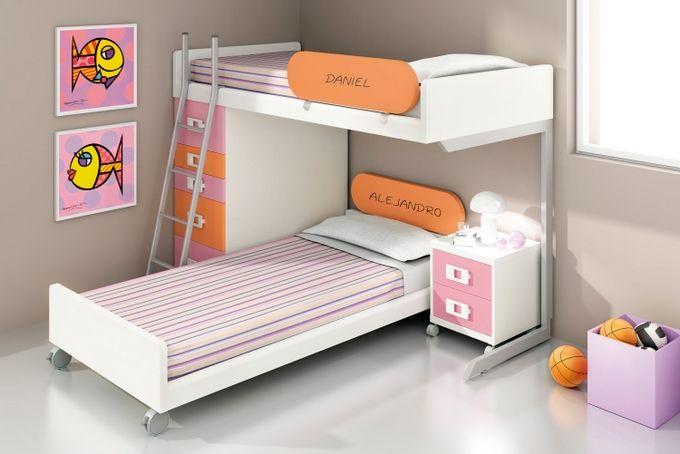 Cama tren en escuadra. - Dormitorios Juveniles Modernos