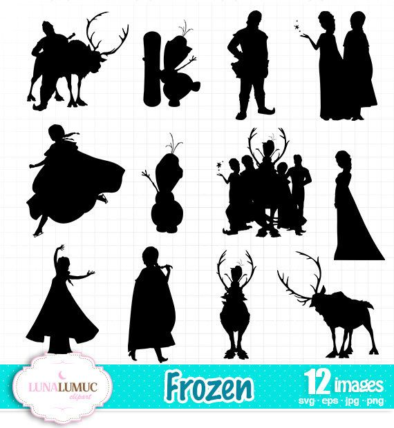SUMMER SALE Frozen Silhouettes, Instant Download, SVG jpg png eps
