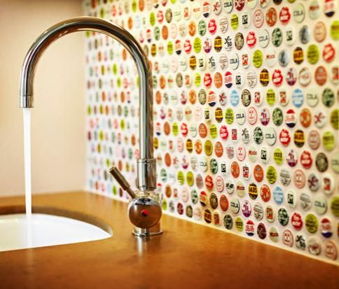 Bottle Cap Backsplash ~ Great way to add color and fun to wetbar in basement.