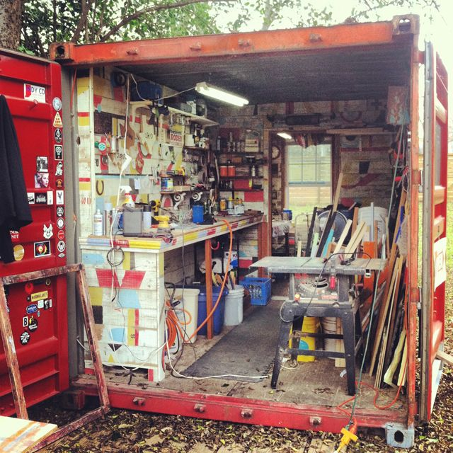 This shipping container studio looks perfect for the at home mosaic or glass artist!