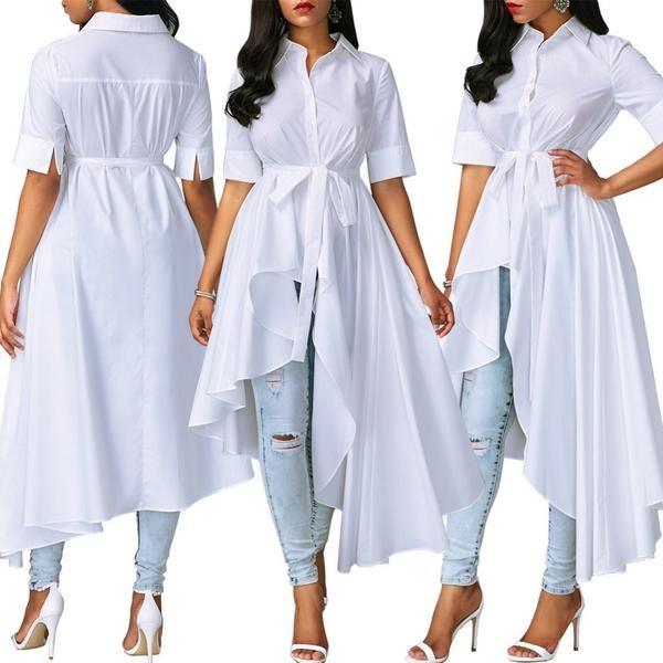 Women Short Sleeve Turn Down Collar Hi Low Shirt Dress ...