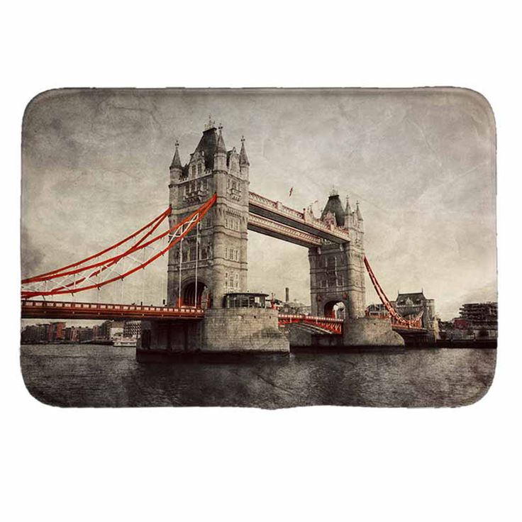 LONDON bridge pattern Print  Doormat Non-slip Floor Mat Pad kitchen Room Carpet Mats Tapis Pastoral Water Absorption Mat #Affiliate