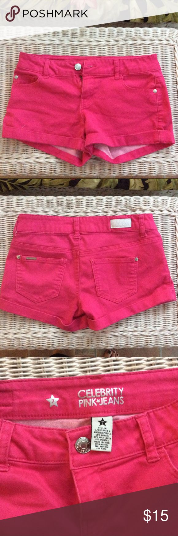 """HOT PINK CELEBRITY PINK*JEANS SHORTS SIZE 7 NWOT REALLY CUTE """"NWOT"""" HOT PINK CELEBRITY PINK*JEANS SHORTS. SIZE7 ,INSEAM 3"""" WAIST 15"""" .SORRY NO TRADES. Celebrity Pink Shorts Jean Shorts"""