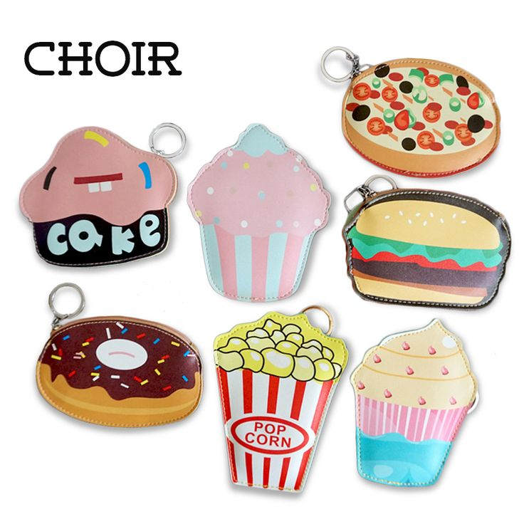 2016 Creative Cute Cartoon Coin Purse Key Chain For Girls Leather Icecream Cake Popcorn Kids Zipper Change Wallet Card Holder #jewelry, #women, #men, #hats, #watches, #belts, #fashion