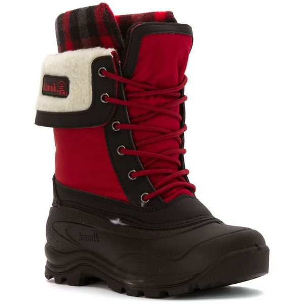 Kamik Women's Sugarloaf Boots (64.920 CLP) ❤ liked on Polyvore featuring shoes, boots, mid-calf boots, red, kamik boots, calf length boots, laced boots, faux-fur boots and shearling-lined boots