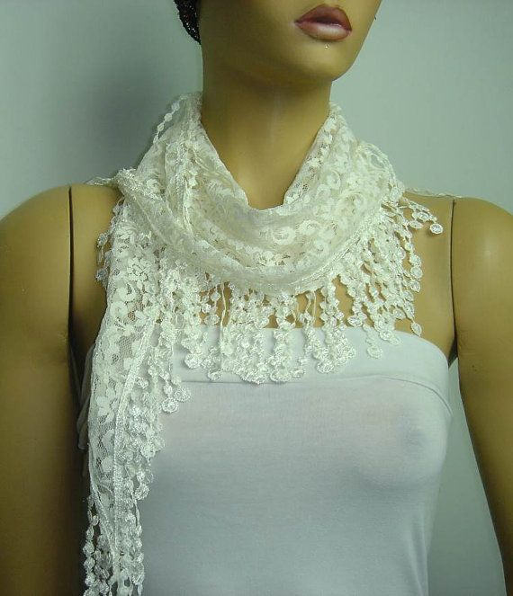 Cream WHITE Lace scarf with lace fringe  Triangle by istanbuloya