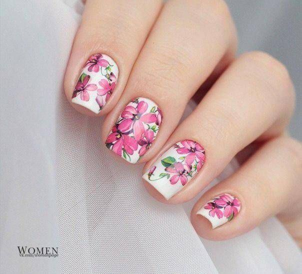 April nails, Beautiful nails 2016, Beautiful summer nails, Fashion nails 2016, flower nail art, Gentle shellac nails, Manicure 2016, Manicure by summer dress