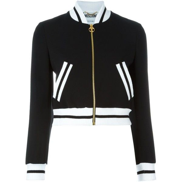 Moschino cropped bomber jacket found on Polyvore featuring outerwear, jackets, black, black long sleeve jacket, bomber jacket, zip front jacket, blouson jacket and long sleeve crop jacket