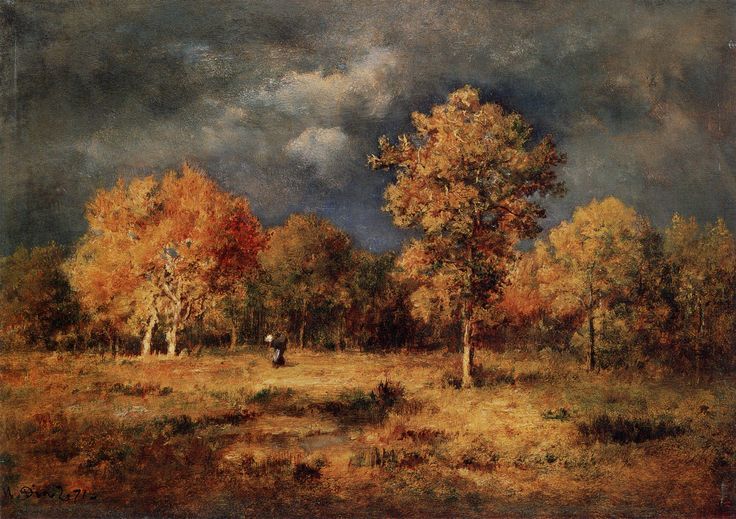 narcisse diaz de la pena - approach of a thunderstorm, 1871, oil on wooden panel (pushkin Mmuseum of fine arts, moscow)