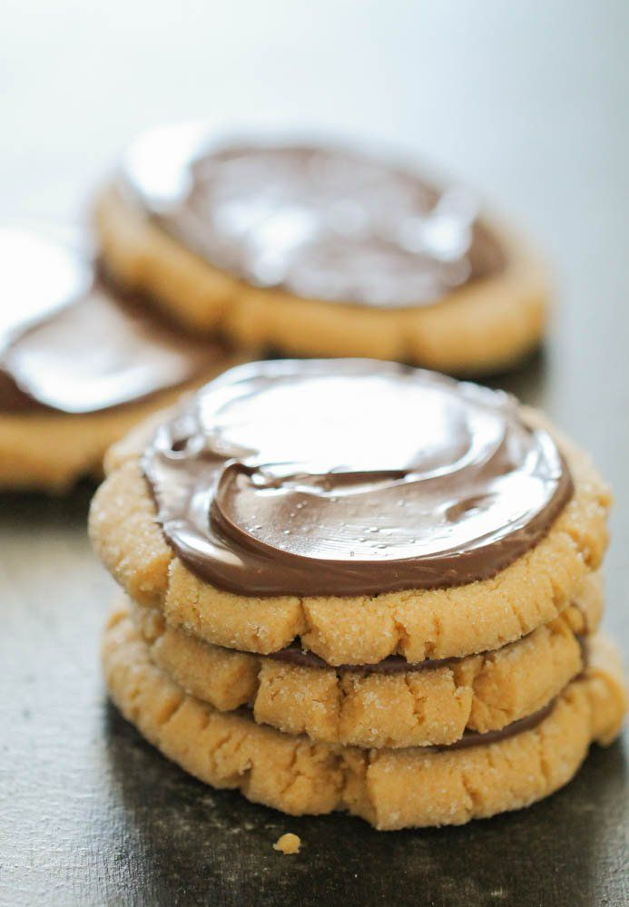Frosted Peanut Butter Nutella Cookies