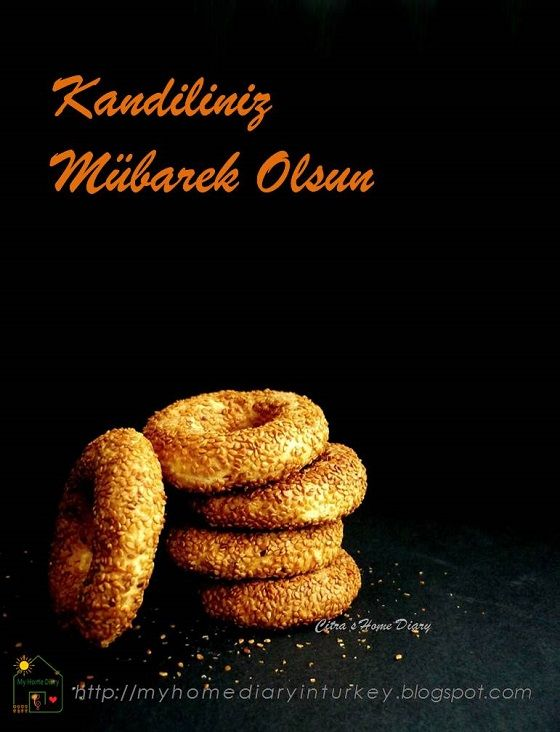 Kandil Simidi / Turkish shortbread bagel. It is ring-shaped and coated in sesame seeds cookie-look alike.  During the five nights of Kandil, these pastries are baked and offered to neighbors and relatives.
