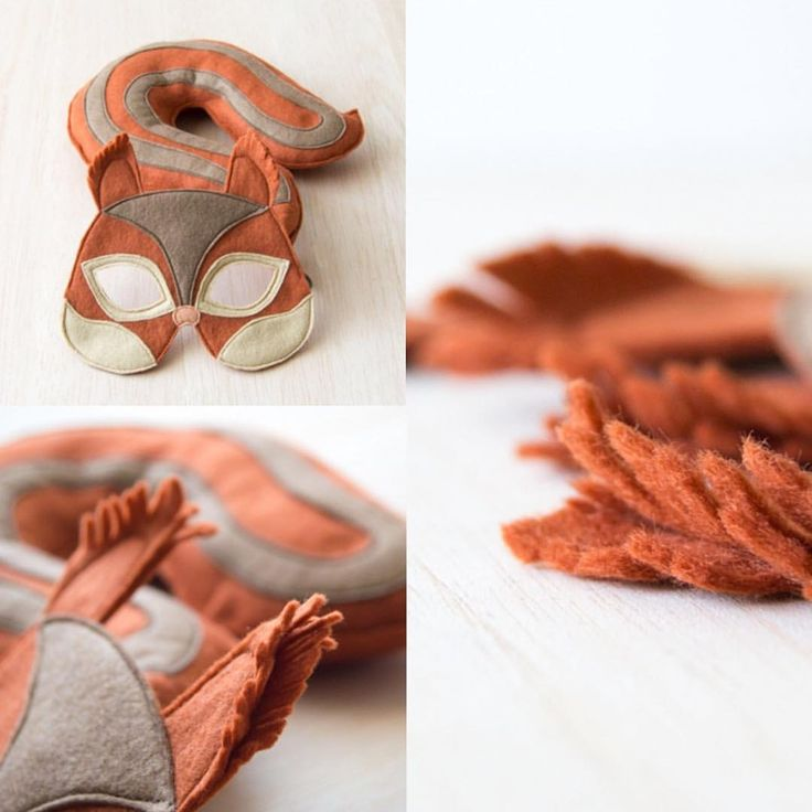 Red squirrel mask and tail set for kids. An easy to put on animal dress up costume for toddlers and older children.