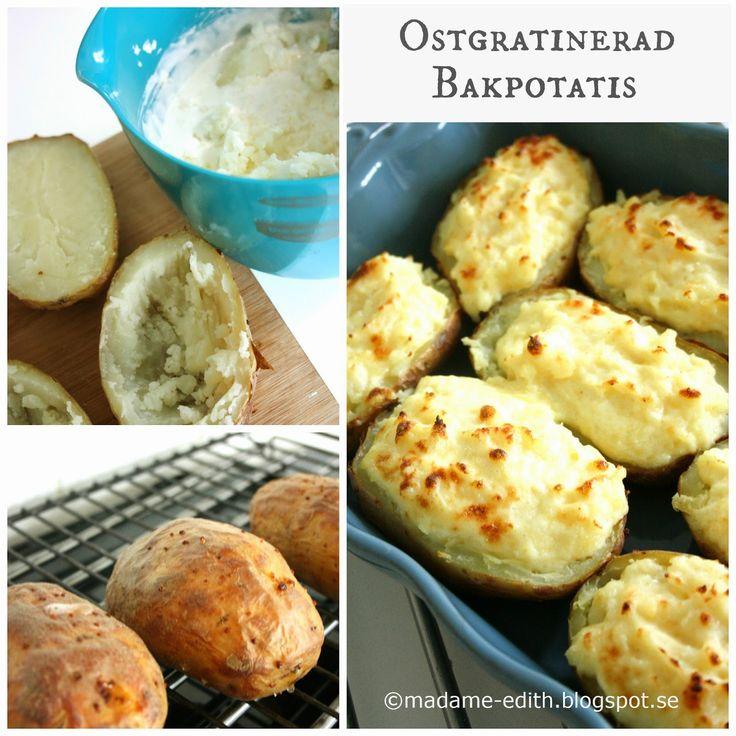 Ostgratinerad bakpotatis   Ett gott tillbehör till grillat eller stekt kött. Passar även till kyckling och köttfärsbiffar.   Innehål...
