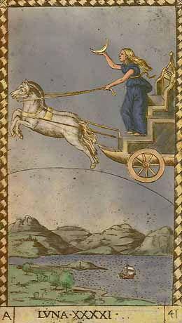 Luna - XXXXI of Mantegna Tarot~The Moon~fifth decade of the Mantegna deck, the 'Firmaments of the Universe' or 'The Heavenly Spheres'.