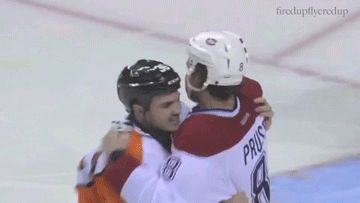 Before a fight, Zac Rinaldo asks recently returned Brandon Prust which shoulder is injured so he can avoid hurting it. Class. | The hockey code - or so he could hurt it? Rinaldo is a dirty player.