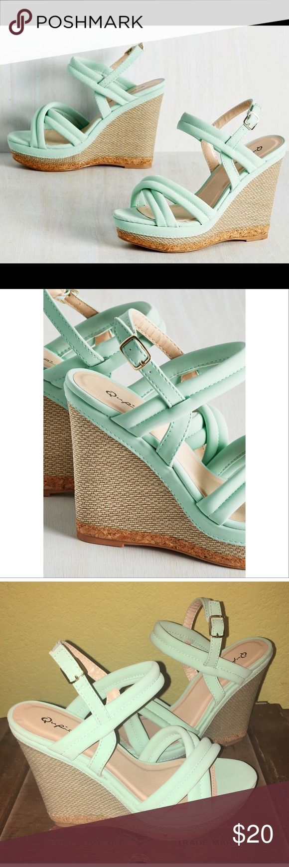 """Modcloth-Qupid mint wedges Size 7 Purchased on ModCloth. """"Textured Perfection Wedge"""" Size 7 Only worn once, I have way too much mint so these lovelies never get a chance to go out 😁 Box was delivered damaged from ModCloth so being sold without box. Modcloth Shoes Wedges"""