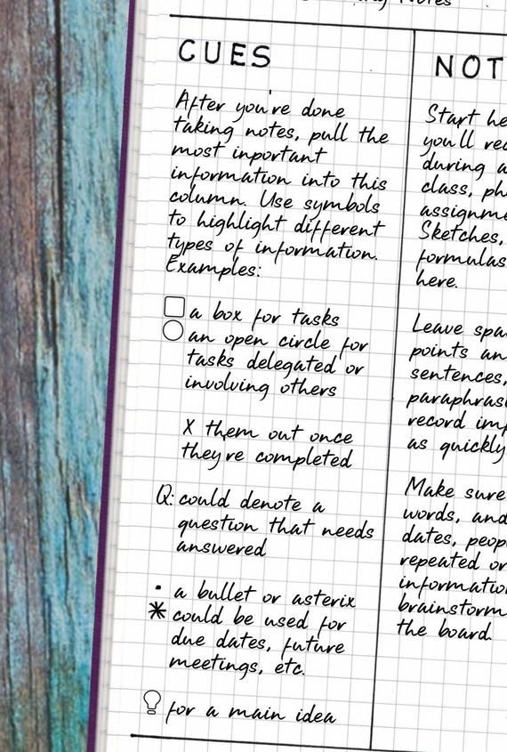 Cornell Notes Bullet Journaling Stencil Creates Organized Meeting