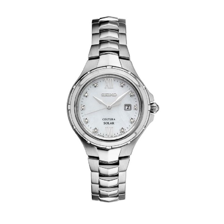 Seiko Coutura Women's SUT307 and Diamond Solar Watch with 100M Water Resistance