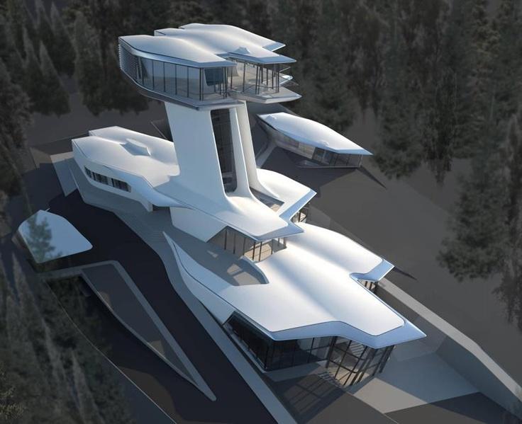 Primeras imágenes de la casa que Zaha Hadid ha diseñado para Naomi Capbell a las afueras de moscú. Cuenta con más de 2600 m2 y una torre a modo de periscopio de más de 20 m de altura. Im-presionante!