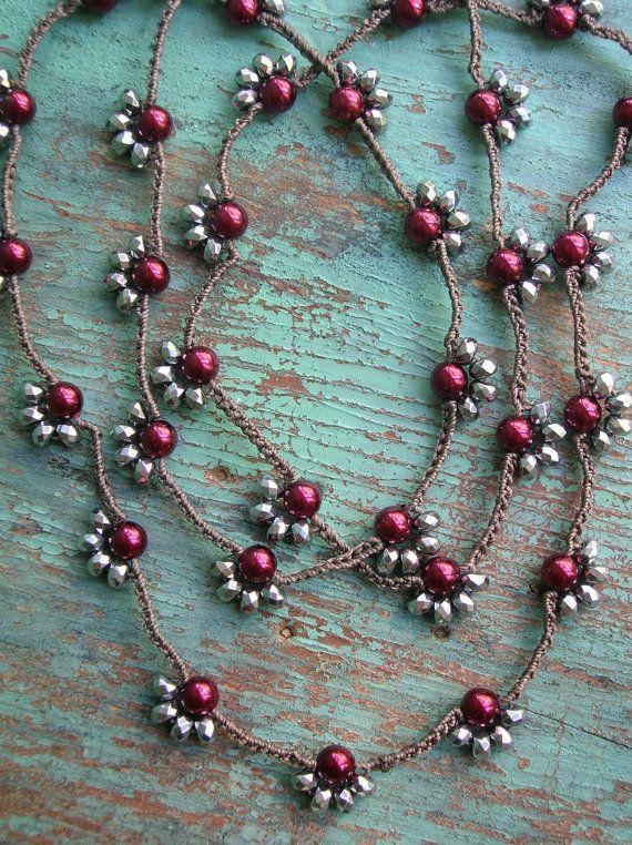 Long crochet necklace Starlet silver wine pearls by 3DivasStudio