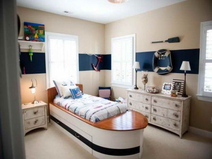 Charming Chic Nautical Themed Bedroom With Cream Wall Paint Color Scheme Feat Unique  Wooden Furniture And Chic