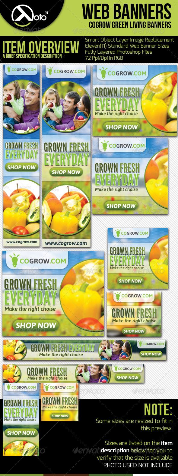 Healthy Organic Living Web Banners  #GraphicRiver            1st Edition of Web Banners for your Organic Living and Green Lifestyle for your web Advertising needs.  Features Include:   Colour : RGB  Files : .psd  Size : leaderboard (728×90), banner (468×60), button (125×125), skyscraper (120×600), wide skyscraper (160×600), small rectangle (180×150), vertical banner (120×240), small square (200×200), square (250×250), medium rectangle (300×250), large rectangle (336×280)   72Ppi…