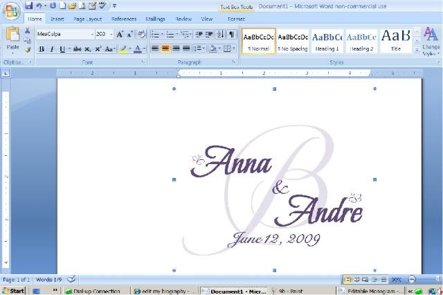 How To Design Your Own Monogram In Microsoft Word - you can then add to invites, programs, menus, thank you's, even to fabric runners, candy bags, etc . . .