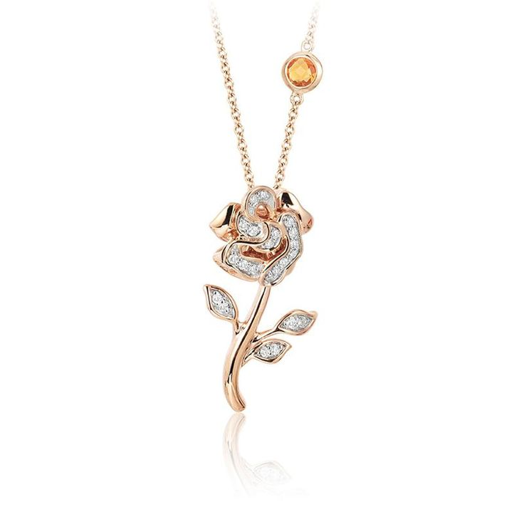 14k rose gold belle pendant.  Features a rose with diamonds made in rose gold.  Come with a rose gold chain featuring a citrine to match Bella's yellow dress. #beautyandthebeast