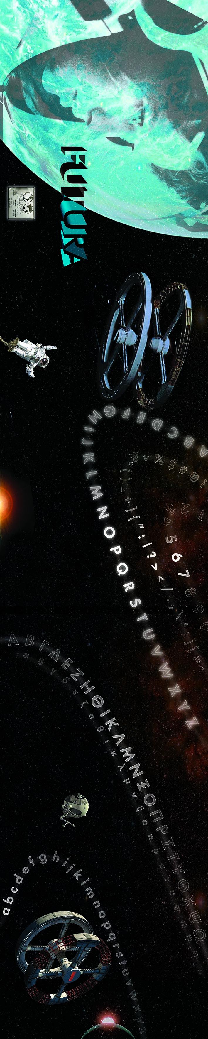 / Futura font panorama, Space Odyssey theme. // / Ανάπτυξη γραμματοσειράς Futura, με στοιχεία από την Οδύσσεια του Διαστήματος. //