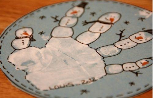Je n'aime pas les bricolages de Noël à l'école mais cette idée sur l'hiver avec la main me plait bcp !!! Article original rédigé par pepourlavie et publié sur Reproduction interdite sans autorisation