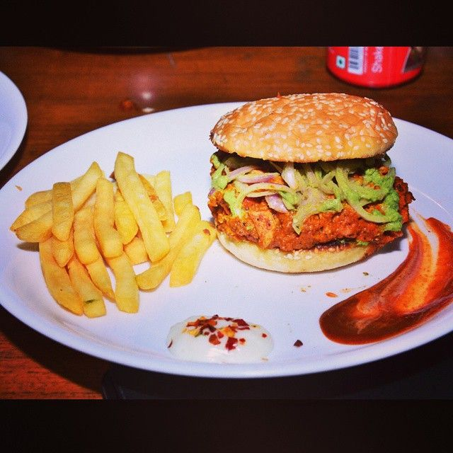 The best way to keep yourself warm this winter. #ButterChickenBurger #Burgers #DelhiFood