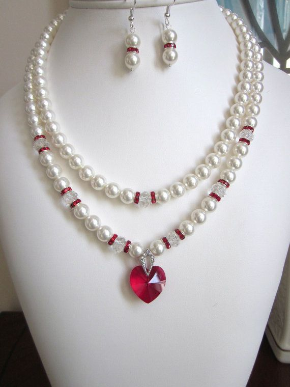 2-Strand Pearl Necklace - Swarovski White Pearls and Siam Red Crystal Heart Necklace - Perfect for Wedding, Prom or Formal, Brides,