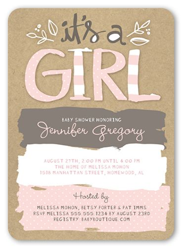 Baby Shower Invitation: Pattern Shower Girl, Rounded Corners, Pink