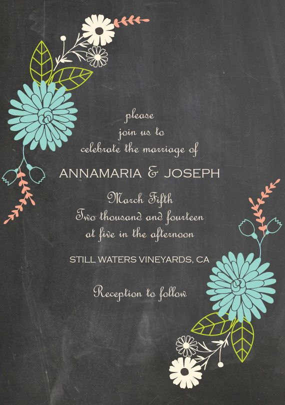 chalkboard floral invitations in blue my dream wedding pinterest