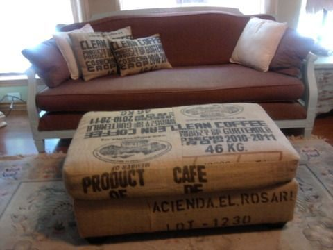 Austin: large ottoman upholstered in burlap coffee bags $140 - http://furnishlyst.com/listings/1133042