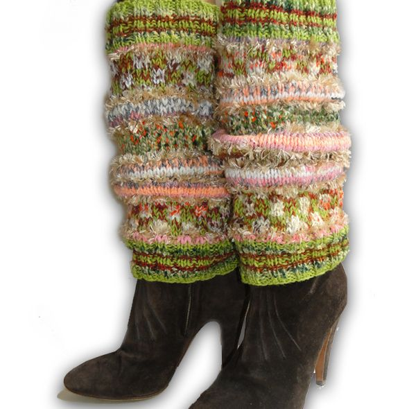 Luxury Hand Knitted Leg Warmers - Spring Green