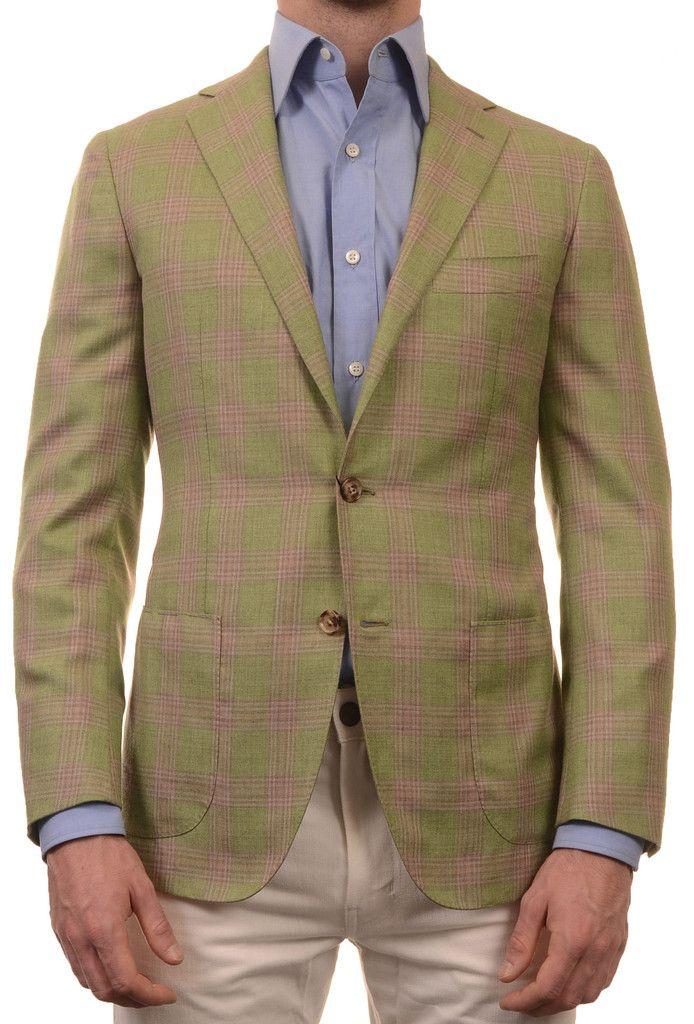 Sartoria PARTENOPEA Hand Made Green Plaid Wool-Silk Jacket Sports Coat 48  NEW 38 -