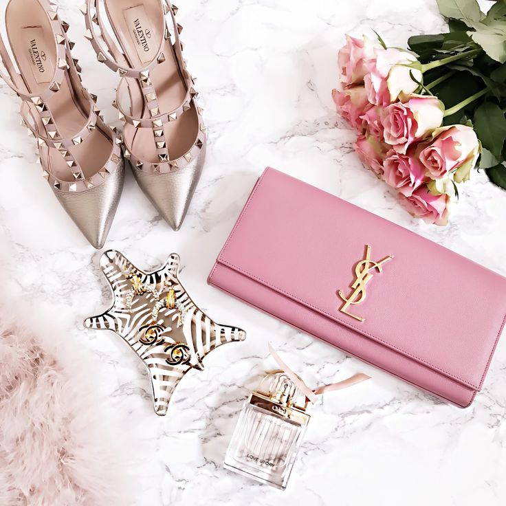 valentino-rockstud-golden-ysl-clutch-saint-laurent-jonathan-adler-chanel-earrings