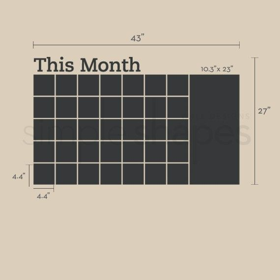 Stay organized with the help of this chalkboard wall calendar. This calendar wall decal incorporates a black chalkboard vinyl that you can write on and erase. This calendar design also includes an extra memo area on the side. It is applied directly to the wall. (Chalk Ink pen not included.)  2016 calendar No more dirty hands, try our Chalk Ink Pens! Click here and add one to your order! http://www.etsy.com/listing/66244174/chalk-ink-chalkboard-marker-white-6mm  The main body of this decal…