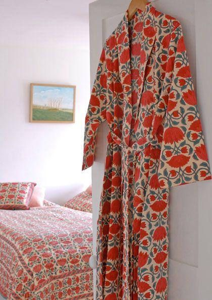 Red Lotus Dressing Gown Hand Block Printed On Organic Cotton The